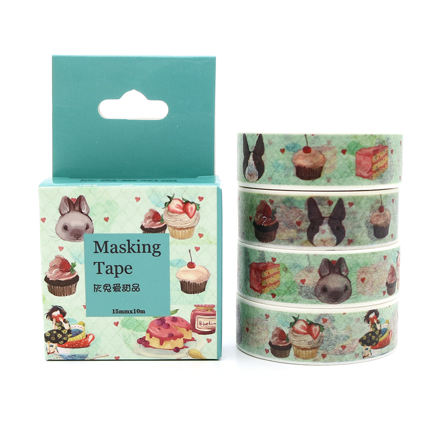 Box Package Gray Rabbits And Desserts Washi Tape Masking Tape Decorative Scrapbooking Adhesive DIY Sticker Label Tape 10m*15mm Клейкая лента