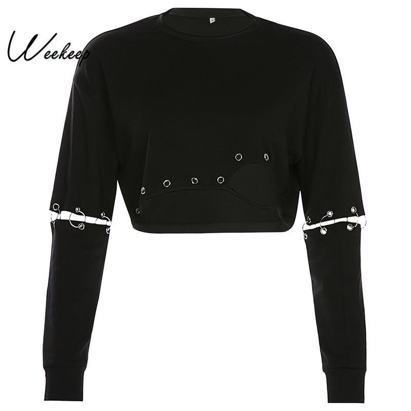 Weekeep Patchwork Hollow Out Hoodies Women Black Streetwear Long Sleeve Sweatshirt Fashion O-neck Hoodie Moletom Feminino 2019