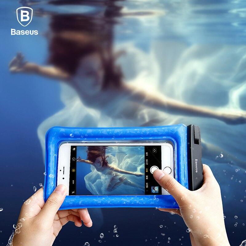 Baseus 6 ''Universal IPX8 caso impermeable para el iPhone X 8 8 más 7 7 más 6 6 s más samsung S9 S8 más impermeable bolsa de natación