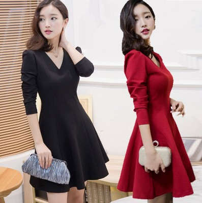 RED and Black Office Dresses Women 2017 Long Sleeve Ladies Casual Work Dress With White Collar A- Line Dress