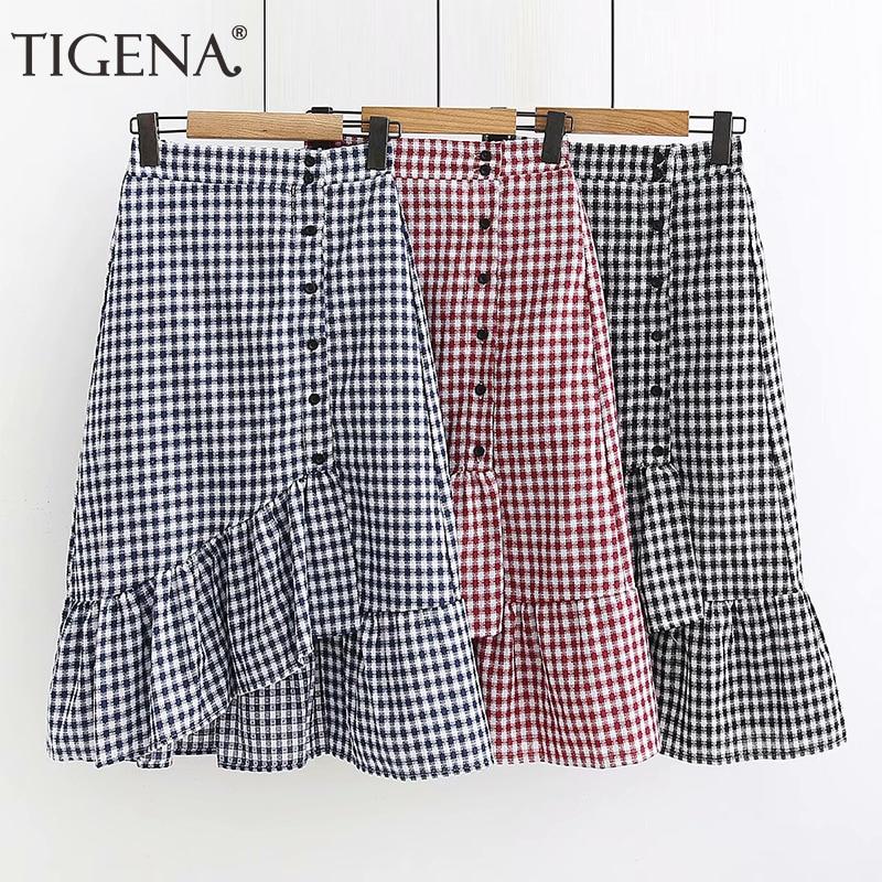 TIGENA Fashion Mermaid Plaid Skirt Women 2019 Summer Korean High Waist Midi Skirt Female Casual Black Blue Red School Skirt Sun