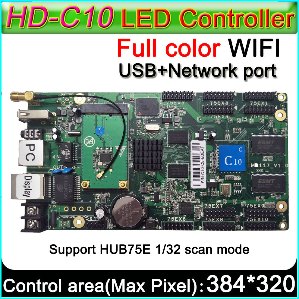 HD C10 c WiFi Full color LED display control card,Support 32 scan LED display module,Onboard 10 HUB75E,Flash RAM 4GB