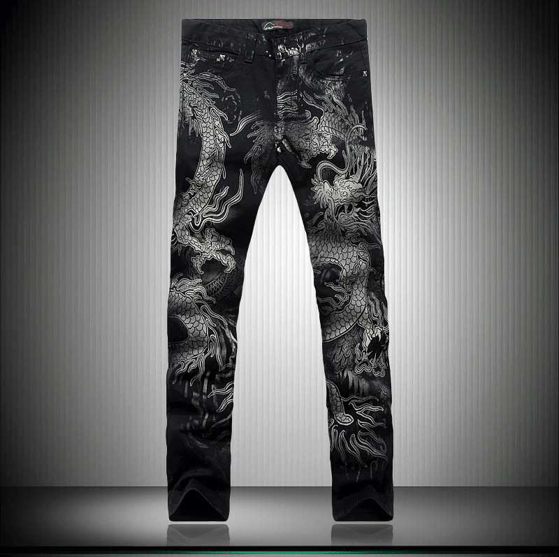 new men black jeans Chinese style fashion animal dragon pattern printed denim cotton jeans high quality full length trousers от Aliexpress INT