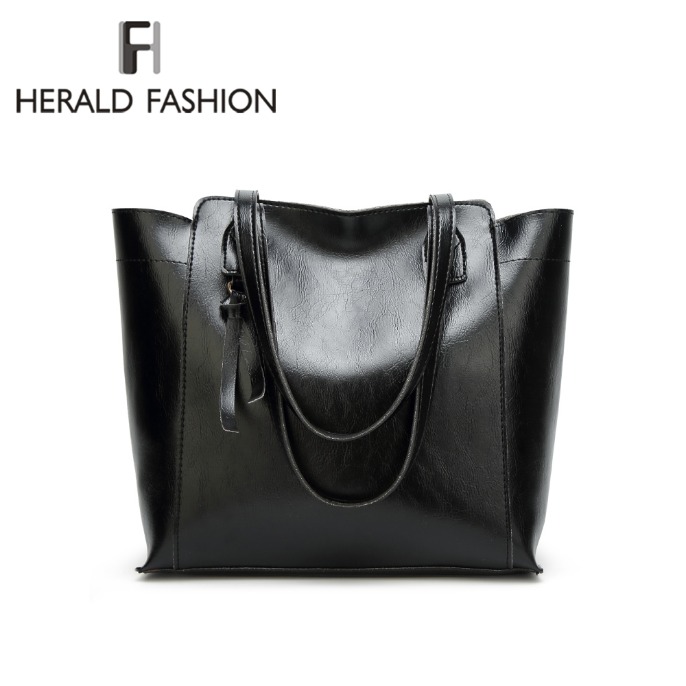 Herald Fashion Women Shoulder Bags Women Handbags Quality Leather Female Large Capacity Tote Bag Casual Ladies' Messenger bag 2018 women leather handbags new female rose flower ladies handbag korean fashion casual shoulder bag large flower messenger bag