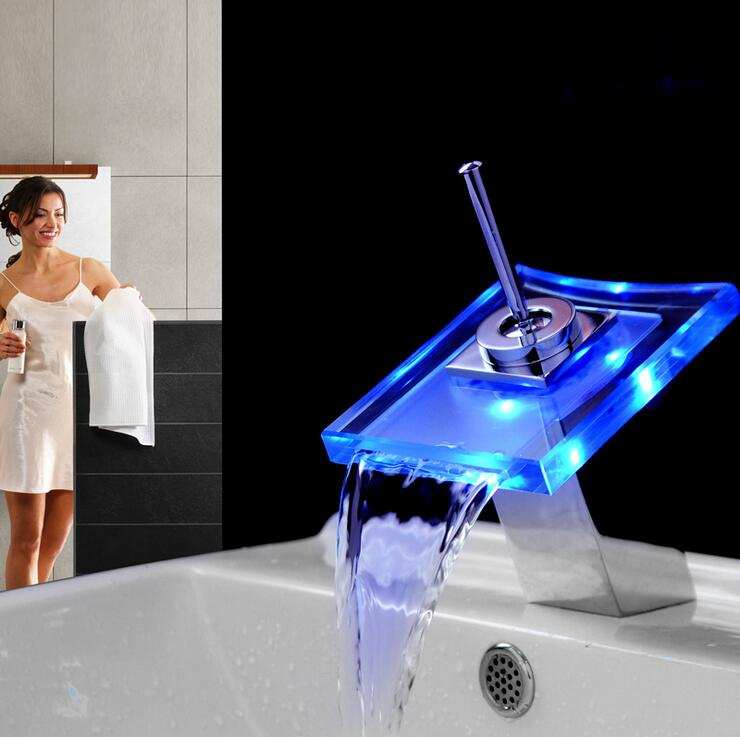 Bathroom sink basin faucet LED waterfall, Brass wash basin faucet ...
