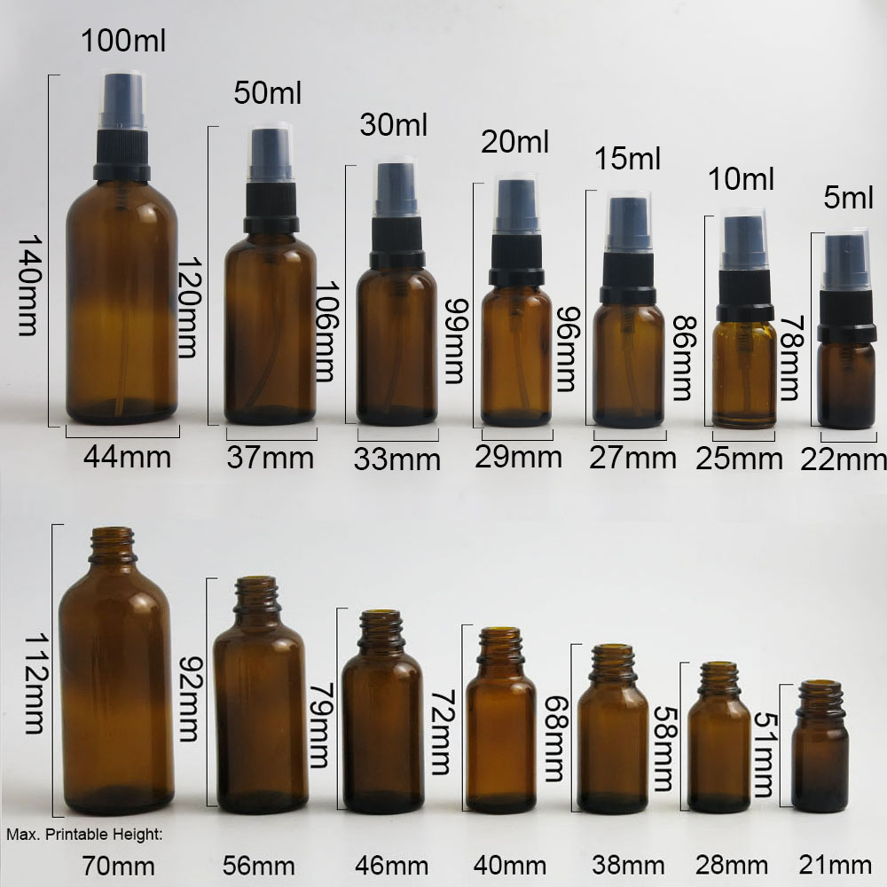 Купить с кэшбэком 10 x Travel Amber Glass Spray Perfume Bottles Essential Oil Container with Fine Mist Sprayer 100ml 50ml 1oz 20ml 1/2oz 1/3oz 5ml