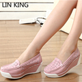 LIN KING New Arrival Leather Women White Nurse Shoes Ladies Casual Platform Flats Comfortable Massage Low Top Doctor Work Shoes