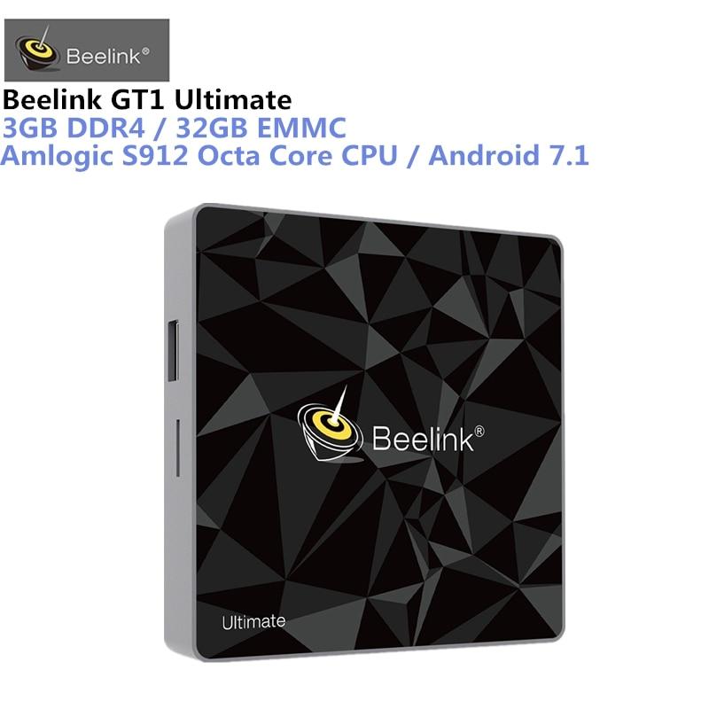 Beelink GT1 Ultimate Android 7,1 TV caja Amlogic S912 Octa Core CPU 3G RAM 32G ROM Bluetooth 4,0 UHD 4 K Set Top Box