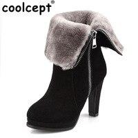 Coolcept Real Geniune Leather Winter Boots High Heels Zipper Two Wear Methods Plush Fur Warm Botas