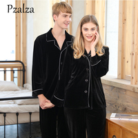 Warm Autumn Winter Couples Pajama Sets Solid Long Sleeve+Pants Velvet Couple Sleepwear Nightwear Pajamas Men Women Luxury