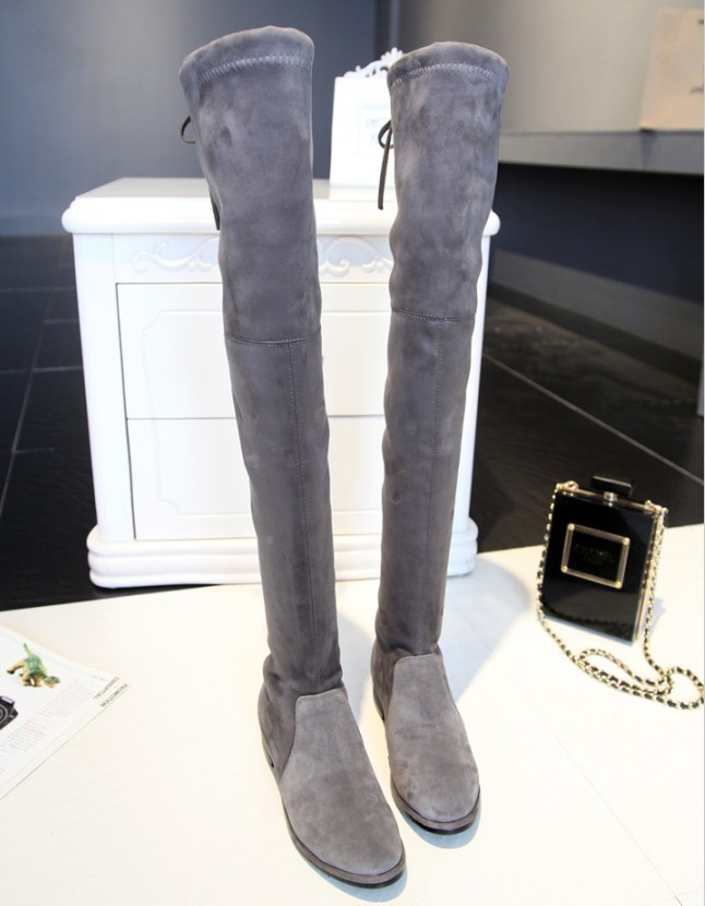 7d7c6d90320 Hot genuine leather flats heel thigh high suede boots elastic slim long  boots lowland boots SW50-in Over-the-Knee Boots from Shoes on  Aliexpress.com ...