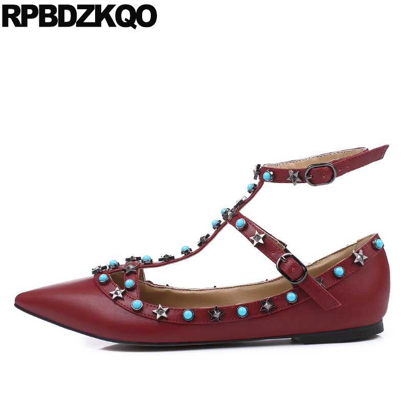 Pointed Toe 2017 Large Size Rivet Ladies Latest Metal Flats Ankle Strap Red Wine Star Pearl Women Beautiful Shoes Drop Shipping pu pointed toe flats with eyelet strap