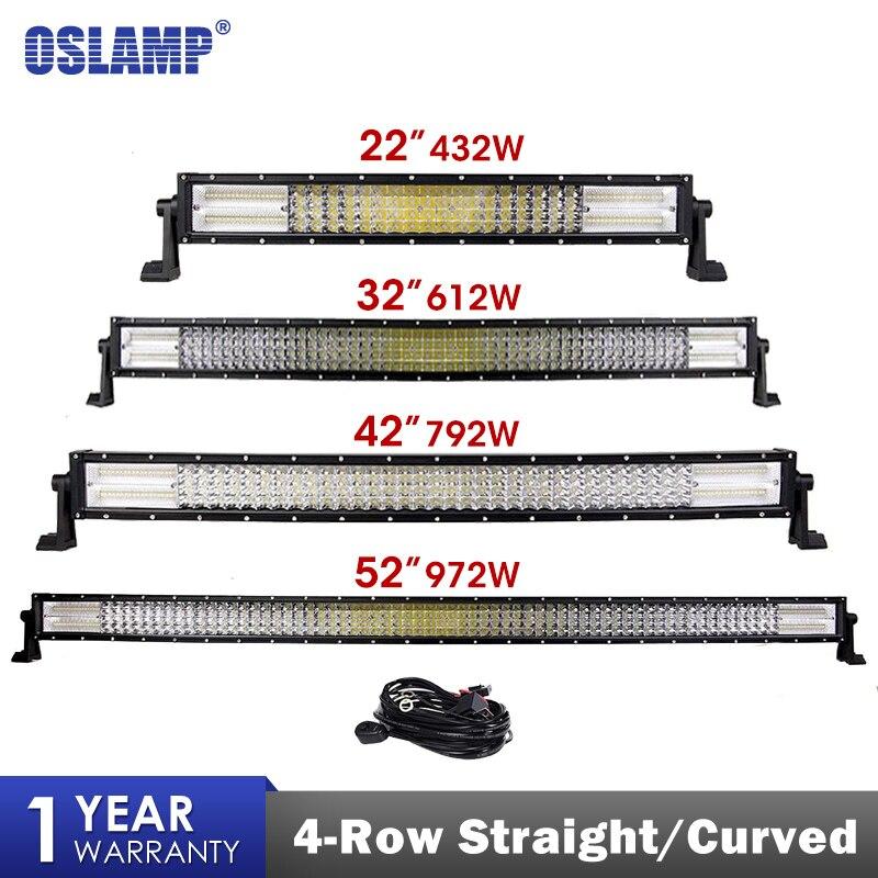 Oslamp 4 Row LED Light Bar 22 32 42 52 Straight Curved Offroad LED Work Light Bar For 4x4 4WD Truck Trailer SUV ATV UTV