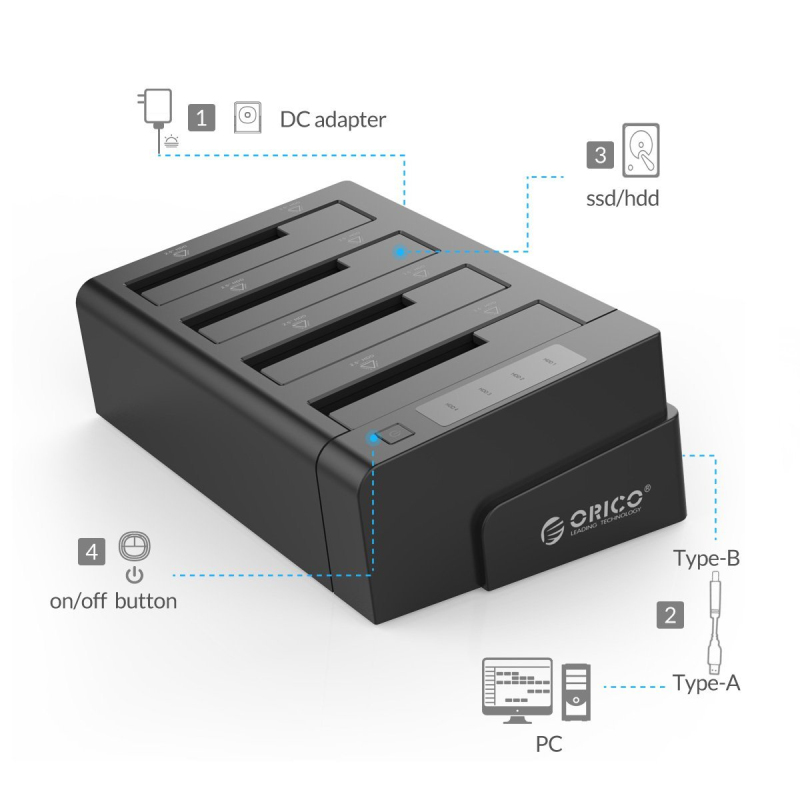 2.5 3.5 pouces USB 3.0 à SATA disque dur Station d'accueil/duplicateur Support MAX 32 to avec adaptateur d'alimentation 12V6. 5A (ORICO 6648US3-C) - 2