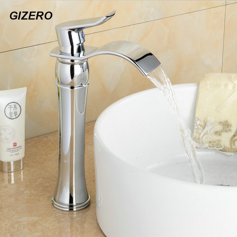 Contemporary Chrome Faucet Bathroom Waterfall Taps Basin Tall Mixer Faucets Hot Cold Bathroom Torneira Deck Mount