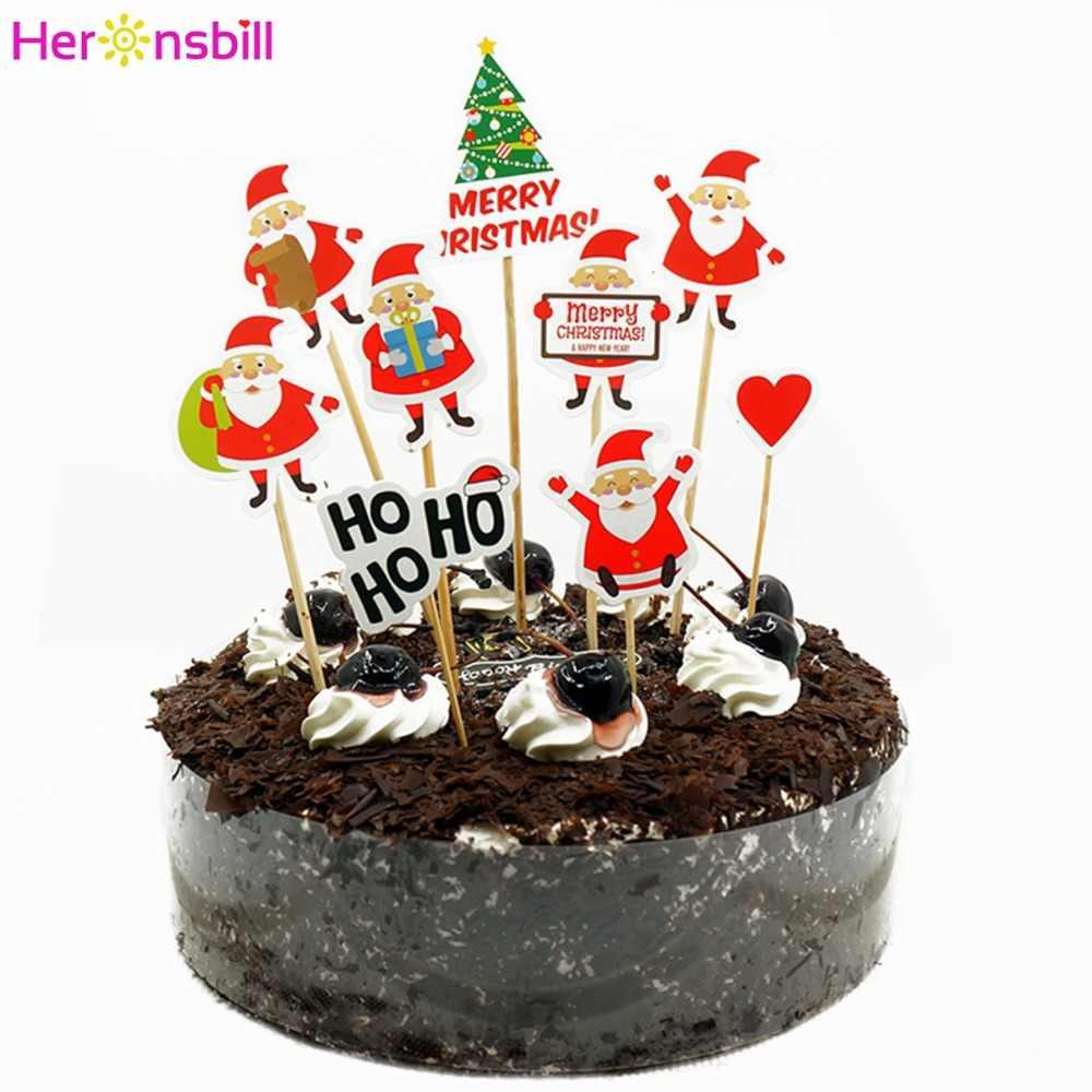 2019 عيد ميلاد سعيد ورقة كعكة قطاعات الكيك ديكورات للمنزل 2020 سعيد السنة الجديدة الحلي سانتا كلوز شجرة عيد الميلاد