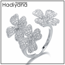 HADIYANA Top Quality Zirconia 4 leaf flower Shape Famous Design Luxury Finger Ring for Women Wedding Prom Party Sliver CP435