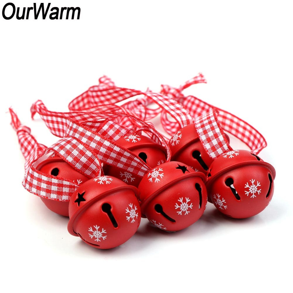 OurWarm 200pcs Hanging Christmas Tree Decorations Bells Red Metal Snowflake Jingle Bells Christmas Ornaments Bell Pendant
