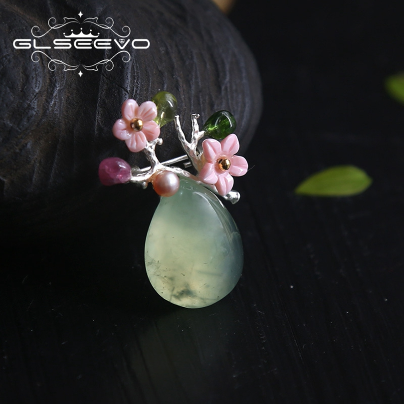 GLSEEVO Natural Fresh Water Baroque Pearl Brooch Pins Prehnite Shell Flower Brooches For Women Dual Use Luxury Jewelry GO0164