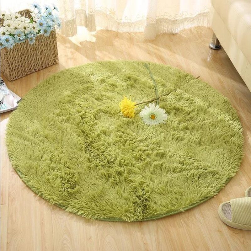 Soft Shaggy Faux Fur Area Round Rug Carpet For Living Room Bedroom Round Floor Mat Home Textile