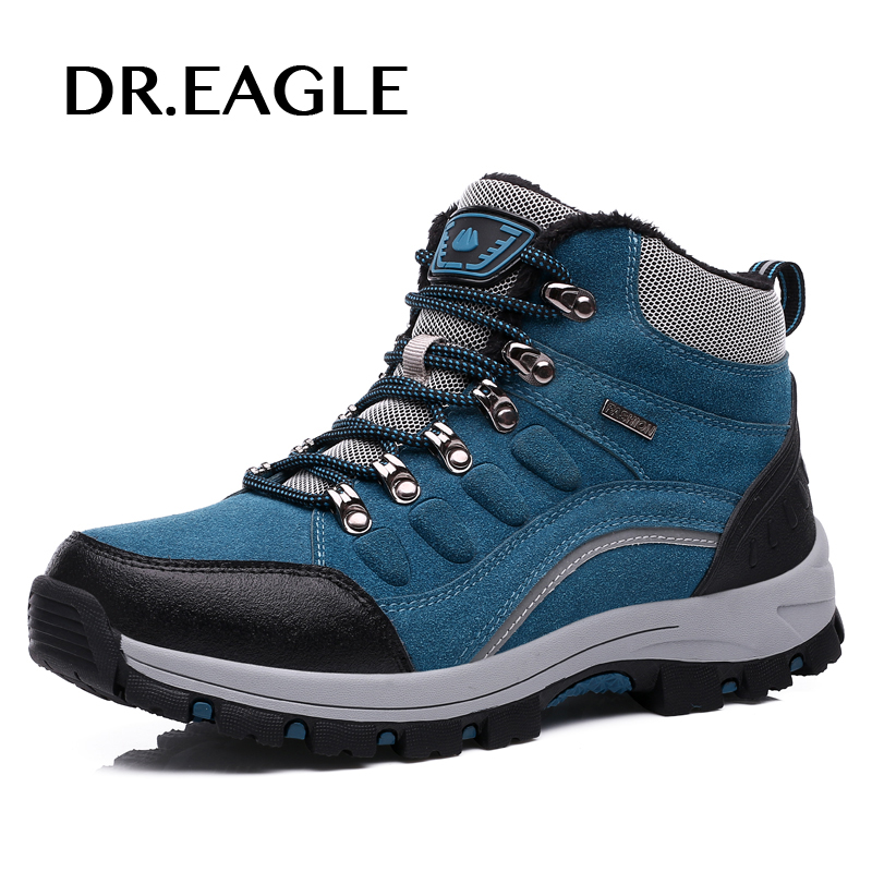 DR.EAGLE Men Genuine Leather breathable hiking mountain Waterproof warm winter sneakers for men Outdoor Sports Shoes Men Walking yin qi shi man winter outdoor shoes hiking camping trip high top hiking boots cow leather durable female plush warm outdoor boot