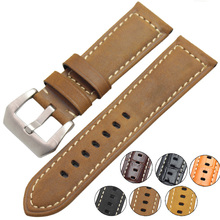 цены 22mm 24mm Vintage Genuine Leather Watch Band Strap Men Women Watchbands Stainless Steel Buckle Accessories For Panerai