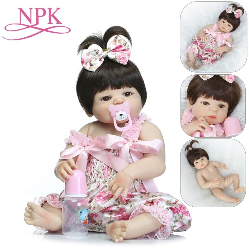 NPK Bebes 57CM Full Body Silicone Dolls Girl Reborn Baby Doll Bath Toy Lifelike Newborn Princess Boneca Dolls For Girls