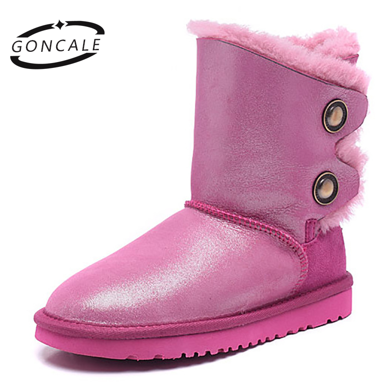 GONCALE Fashion waterproof sheepskin leather suede winter snow boots for women real sheep fur wool winter shoes high quality inoe fashion fox fur real sheepskin leather long wool lined thigh suede women winter snow boots high quality botas shoes black