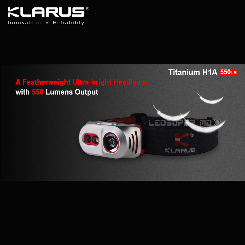 Best Selling KLARUS Titanium H1A CREE XP-L V3 LED Featherweight Ultra-bright AA Headlamp With 550 Lumens Output