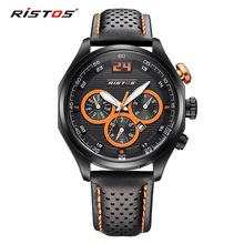 RISTOS Luxury Brand Sports Mens Watches Fashion Military Watch Leather Alloy Quartz Wristwatches Men Gifts Clock Relogio Hodinky