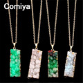 Colors rectangle natural stone statement necklaces & pendants for women golden plated link chain pink collier femme necklace