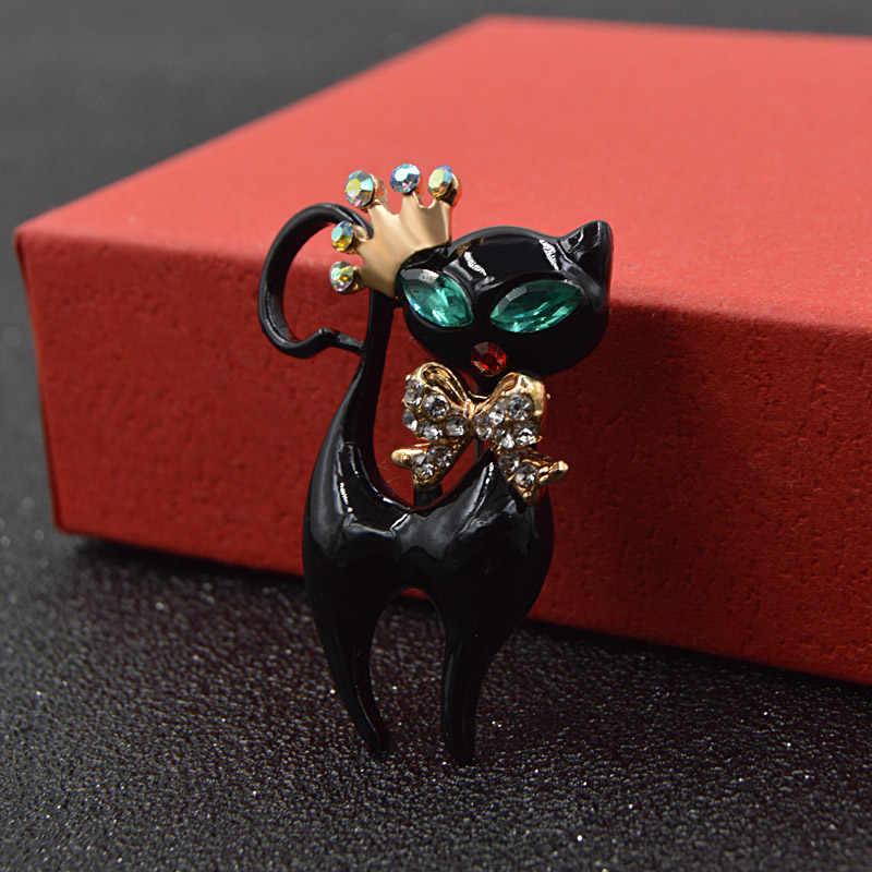 Брошь унисекс в виде черной кошечки CINDY XIANG, милое украшение в виде черной кошки в короне и банте с эмалью и стразами, модный аксессуар для платья, жакета, блузки, отличное качество
