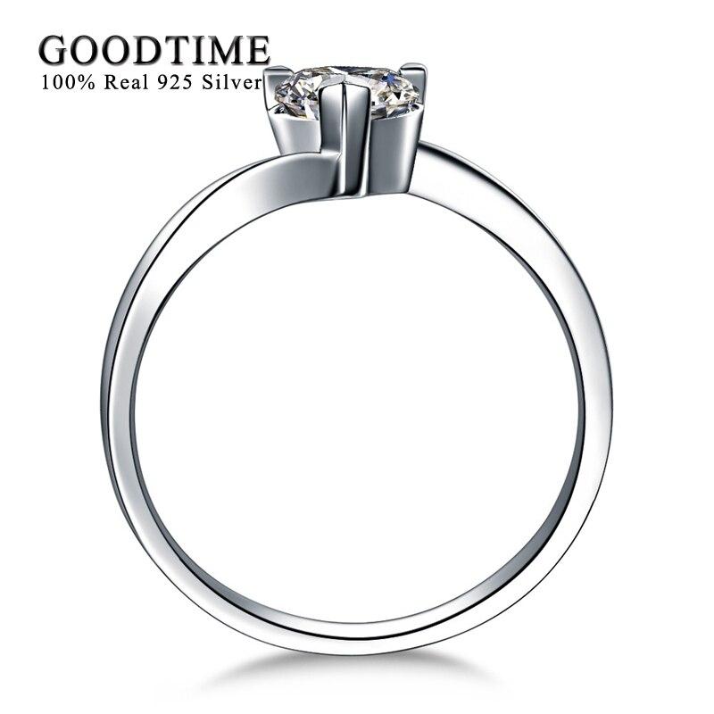 Romantisks sirds cirkonija kāzu gredzens Soild 925 sudraba - Skaistas rotaslietas - Foto 3