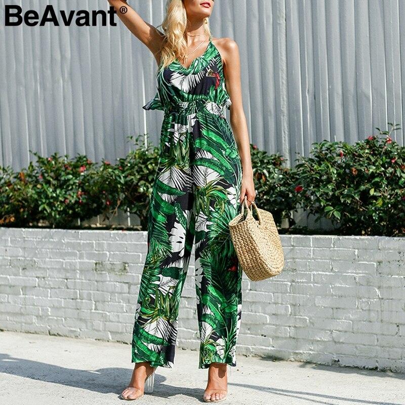BeAvant Casual ruffles strap long   jumpsuit   romper Women tropical print summer playsuit female Wide legs chiffon   jumpsuit   macacao