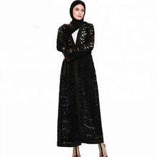Women Long Black Lace Dress Maxi Kimono Cardigan Roupa Plus Size Kimonos Mujer Blusas Mujer De Moda 2019 Abaya Muslim Blouse(China)