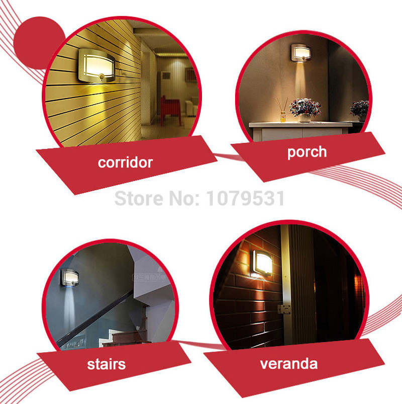 Stick-On LED Infrared Sensor Lamp Wall Light Body Motion Sensitive Night Light Ultra-bright Battery-operated aluminum26