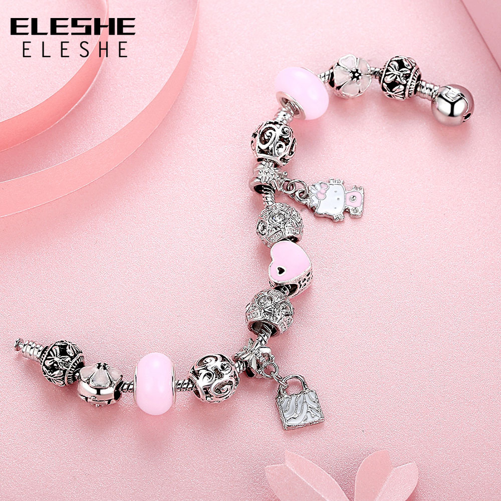 ELESHE Cute Children Charms Armbånd Bangle for Kids Girl Murano - Mote smykker - Bilde 5