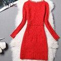 ArtSu High Quality Women Lace Dress OL Package Hip Long-sleeved Dresses Sexy O-neck Elegant Warm Winter Vestido de festa DR5906