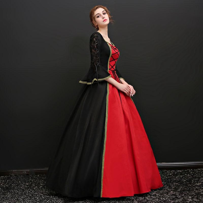 Victorienne 18th Partie Picture Rouge Noir Nu Gothique Robe Long Longue Siècle Mascarade Flare 2018 Carré As Col Et Robes Manches Dos kuPiXOZ