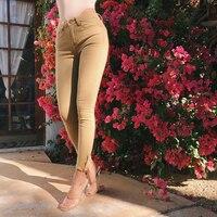 Women pencil skinny pants pantalon femme sweatpants side zipper
