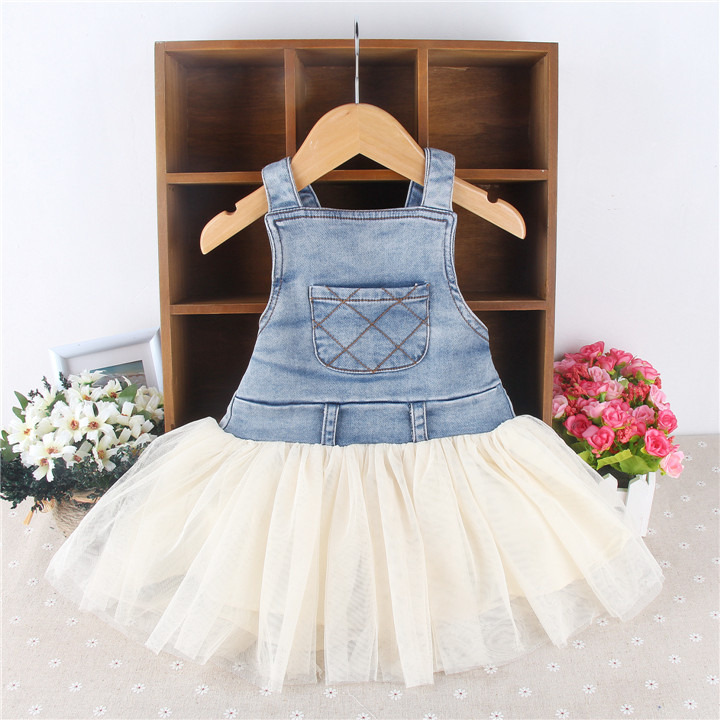 Cute Kids Baby Girls Clothes Summer Denim Suspenders Backless Tulle Tutu Dress Overalls Outfits 6M-4Y 3 8t girls dress baby girls clothes toddler jeans dress summer straps denim overalls casual mini kids clothing 4 5 6 7