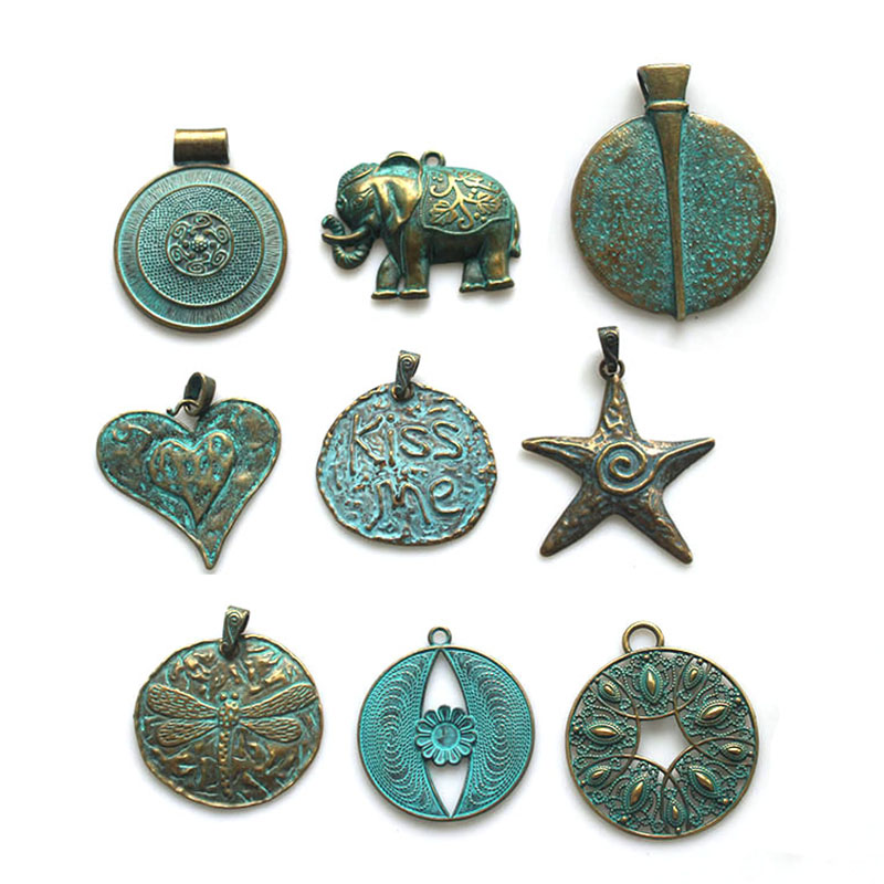 2pcs Vintage Bronze Charms Antique KISS ME / Starfish / Heart / Dragonfly Pendant For Necklace Jewelry Making