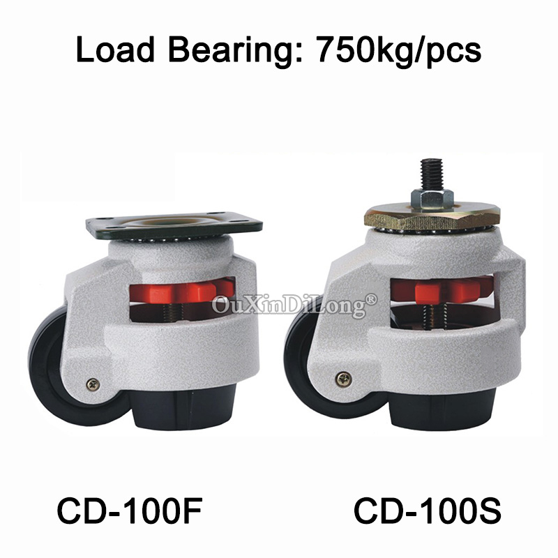DHL 24PCS CD-100F/S Heavy Duty Level Adjustment Nylon Wheel Industrial Casters Bearing 750KG/PCS Machine Equipment Casters Wheel 5 swivel wheels caster m12 industrial castor universal wheel nylon rolling brake medical heavy casters double bearing wheel
