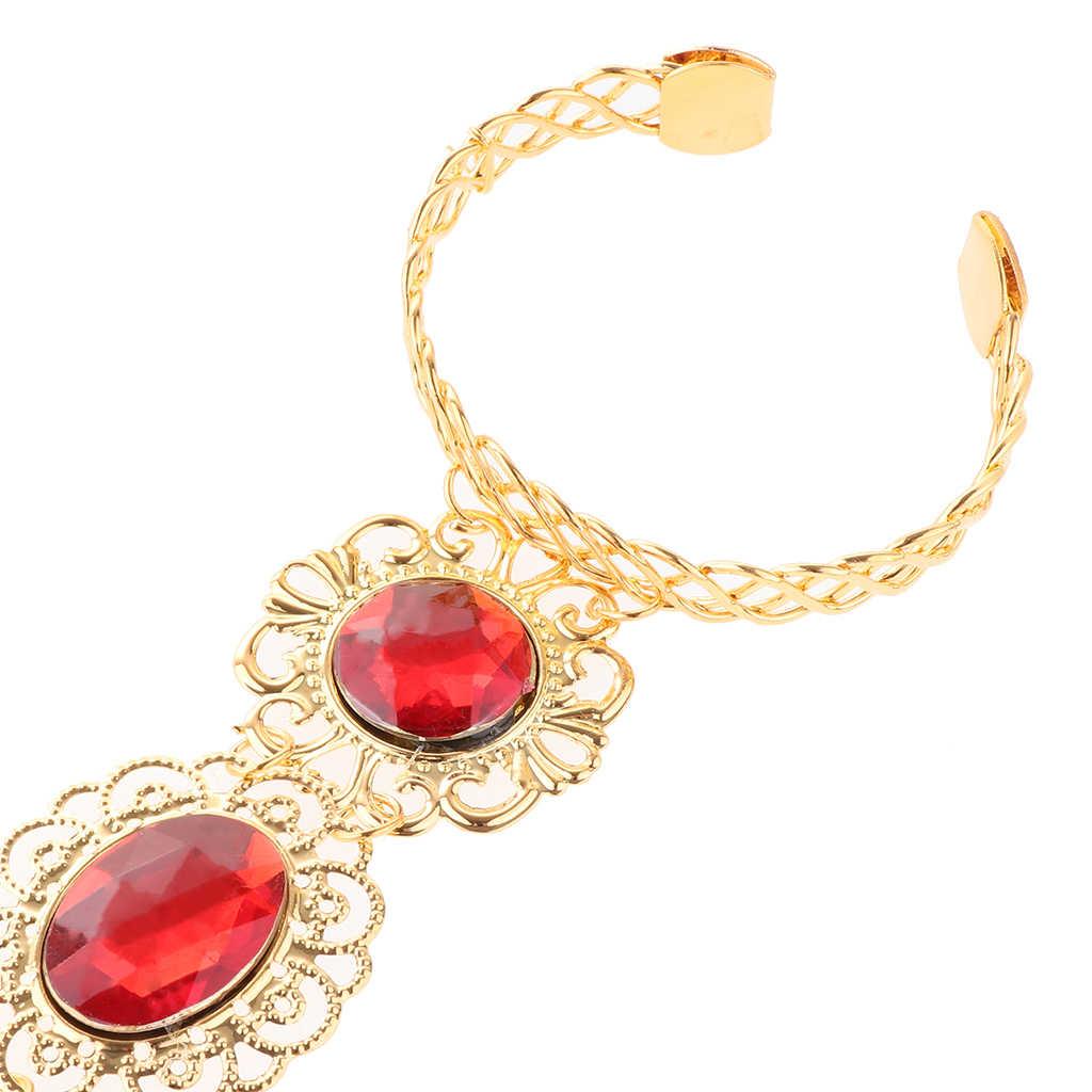 Gaya Tari Perut Gypsy Mesir India GOLD Gelang Kuku Jari Permata Merah Perhiasan Tangan untuk Performa Panggung