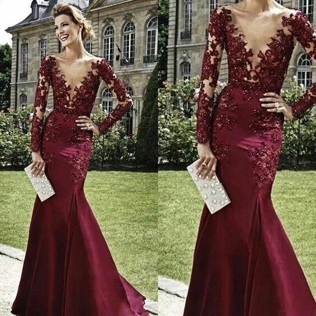 2018 Burgundy Prom Dresses Elegant Women Vestidos Hot Selling Plunging Neck  Mermaid Dress Long Sleeves Long Evening Gowns Sexy 7dd98808a