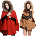 Winter Cape Coat Women Fashion Bat Sleeve Cloak Pattern Woolen Jackets Fur Collar Overcoat Female Kawaii Bow Hoody Clothes XL