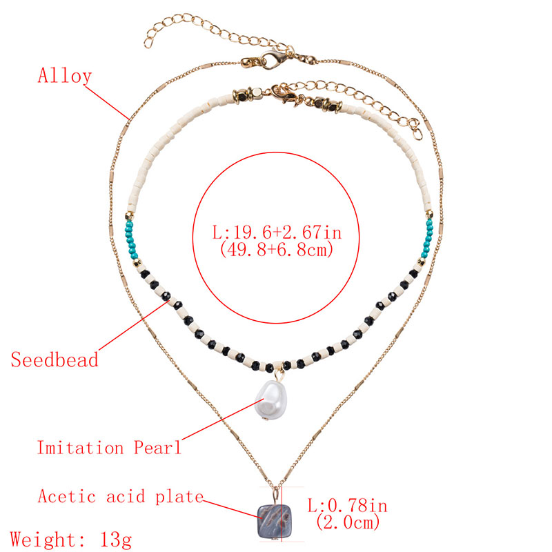 RE 2pc set Bohemian za Seed Beads Necklaces for Women Pearl Pendant Choker Gold Chain Long Necklace Pearls Party Jewelry B34 in Choker Necklaces from Jewelry Accessories
