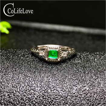 Vintage silver emerald  ring for woman 4mm natural SI grade emerald ring real 925 silver emerald jewelry romantic gift for woman