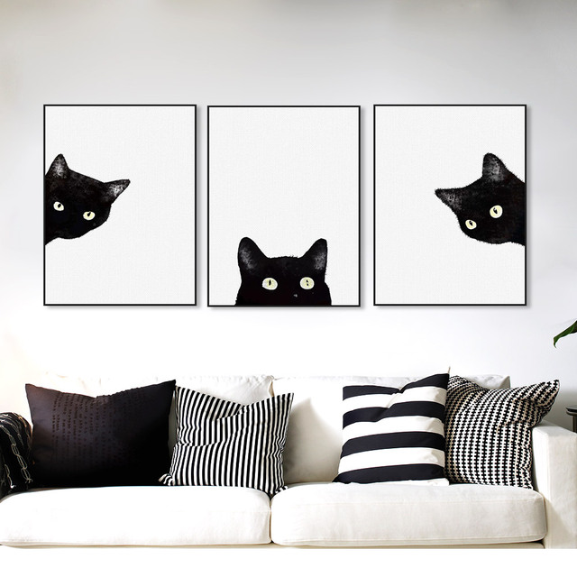 3 Piece Black Cats Head Modern Cute Animal Canvas A4 Print Poster Nordic Wall  Art Picture