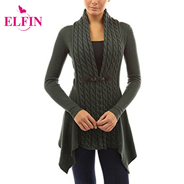 Autumn And Winter Front Cardigan Sweater Women Buckle Braid Slim Fit Long  Sleeve Casual Top Plus 68dd0236e